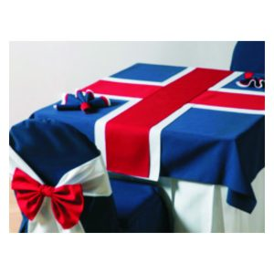 Custom Made Tablecloths with Branded Logos and Text.