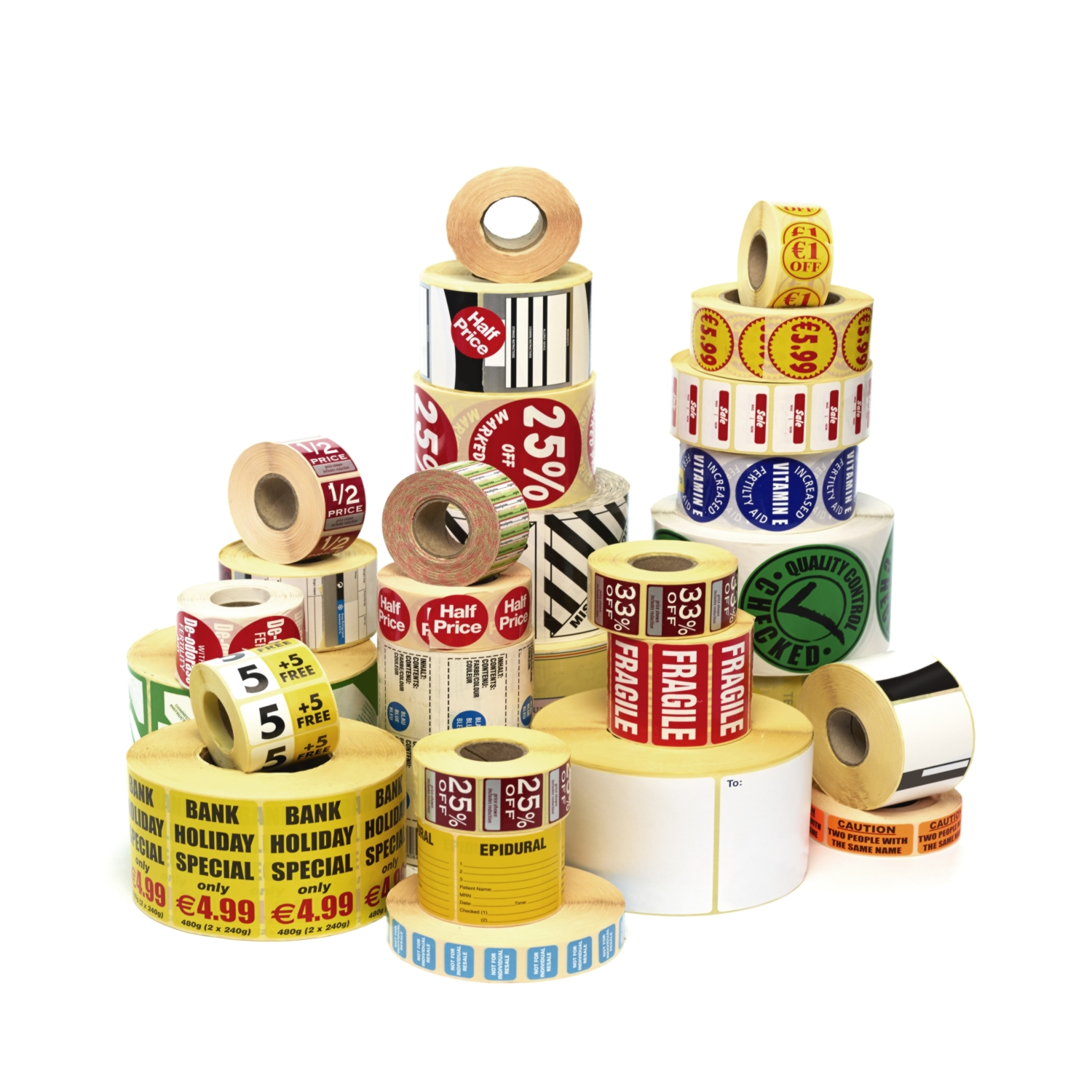 Stickers & Labels with Branded Logos and Text.