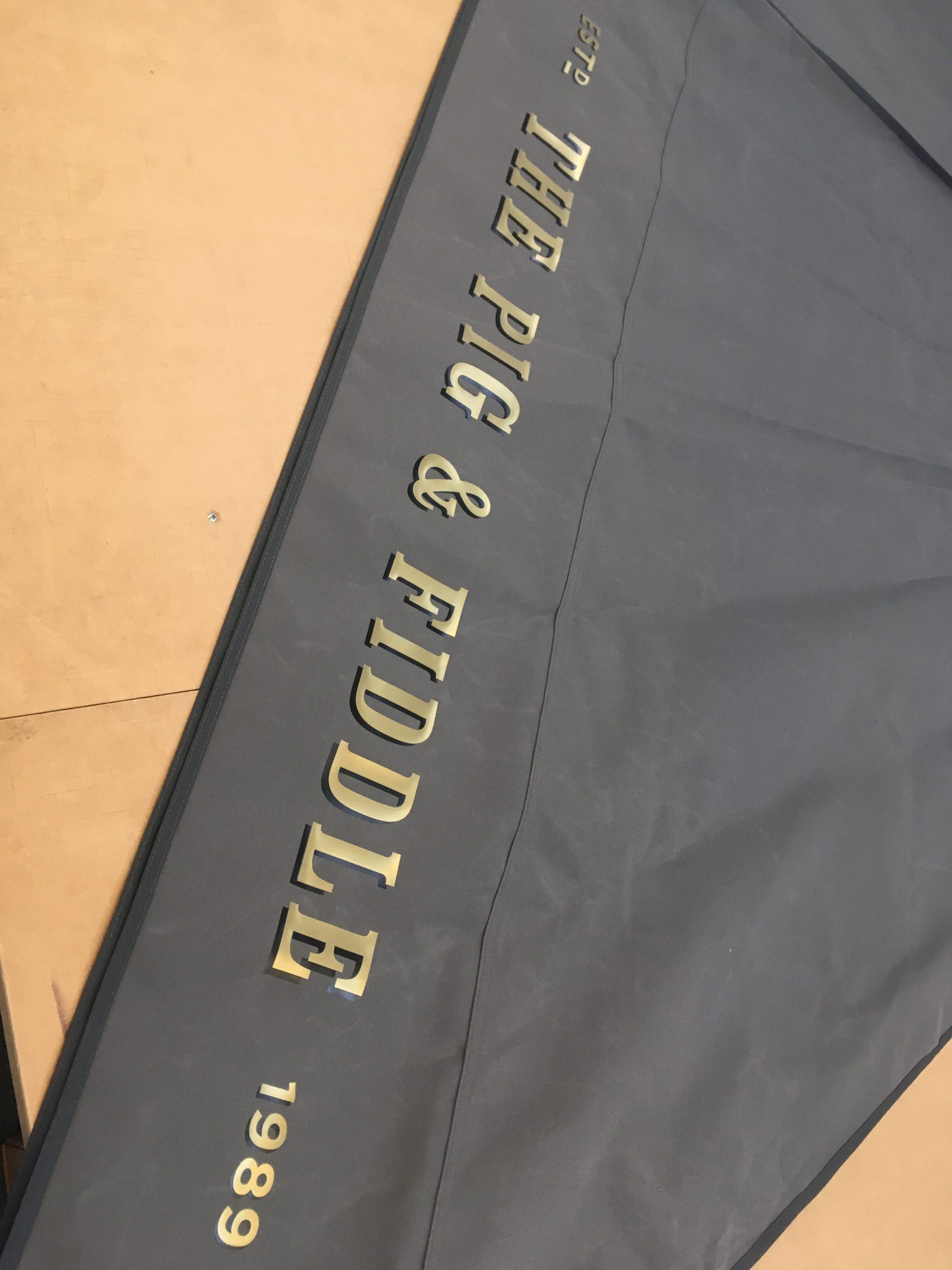 Parasol Valance Printed in Metallic Gold & Black
